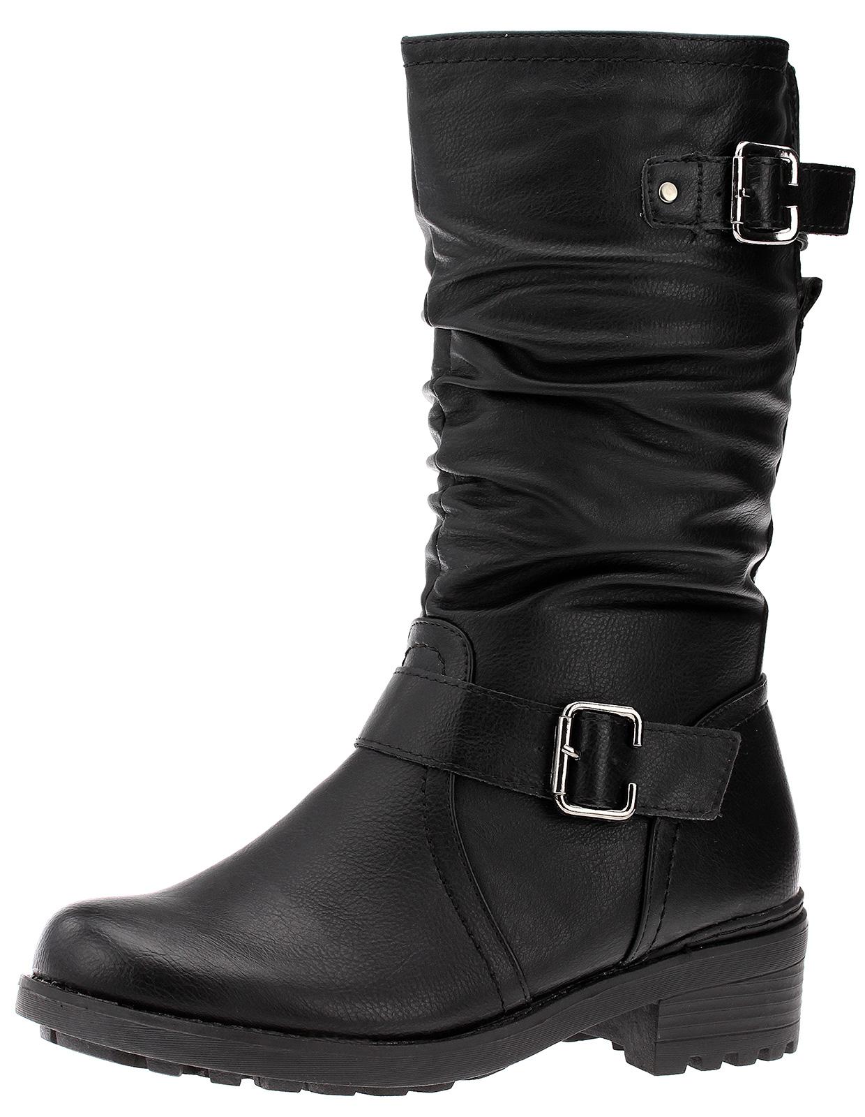 Damen Winterstiefel Stiefel Boots Gefüttert Schwarz
