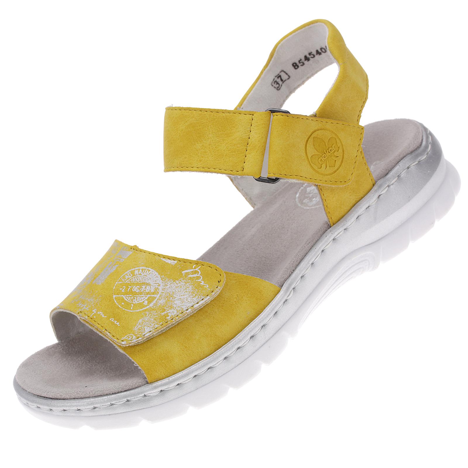 Rieker Damen Sandalen Sommerschuhe Trekking Freizeit Sandalette Gelb