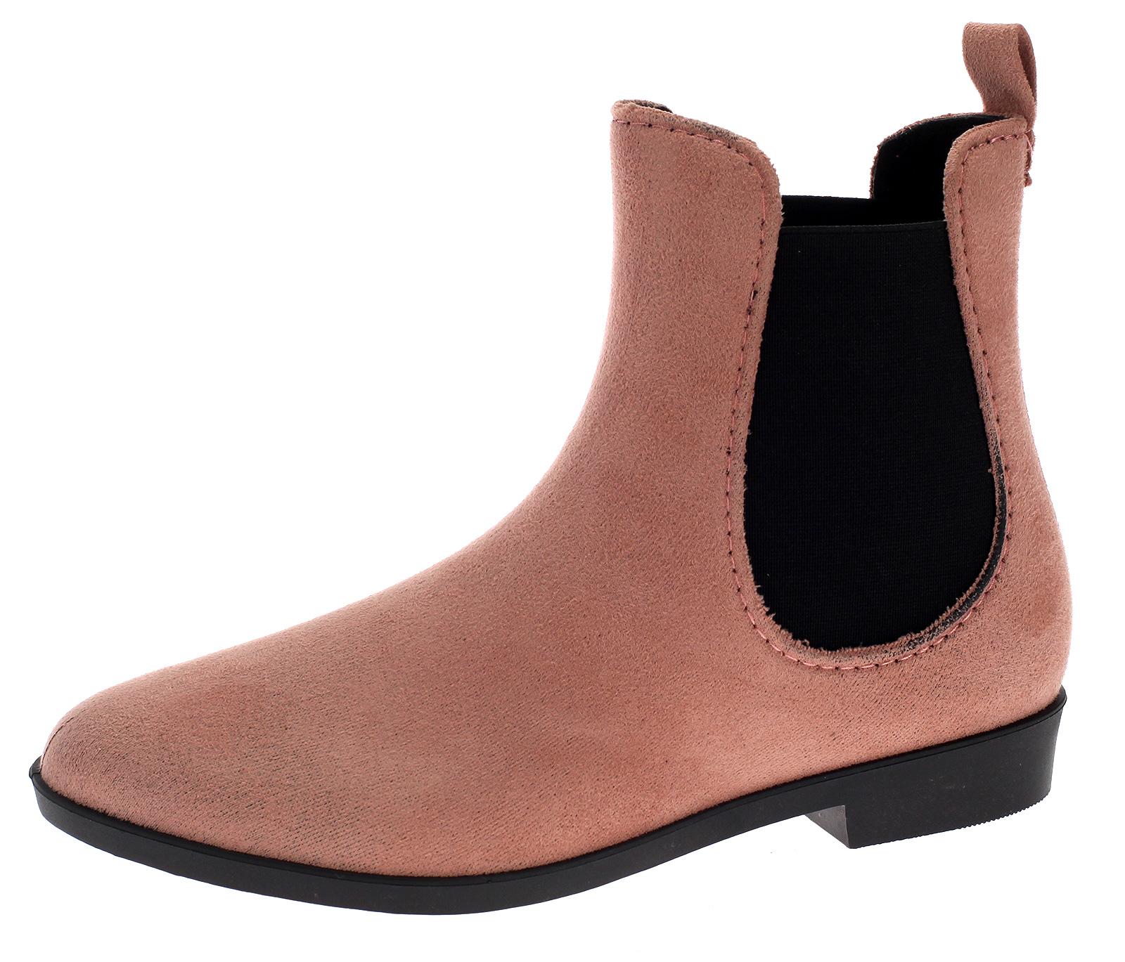 Damen Gummistiefel Chelsea Boots Regenstiefelette Gummischuh Velour-Optik HM-85