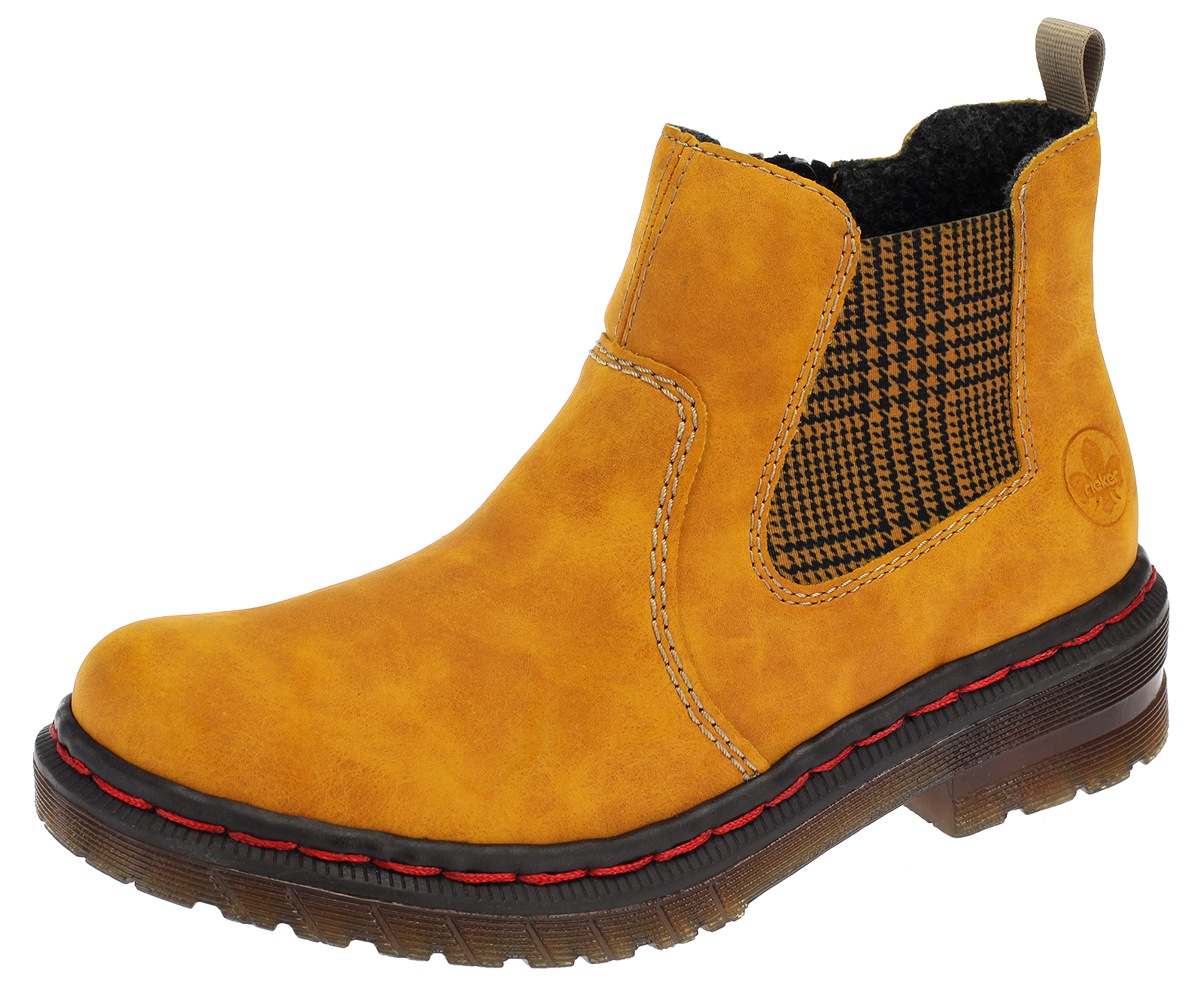 Damen Chelsea Boots Rieker Stiefeletten Winterboots Stiefel Gefüttert Gelb 76264-68