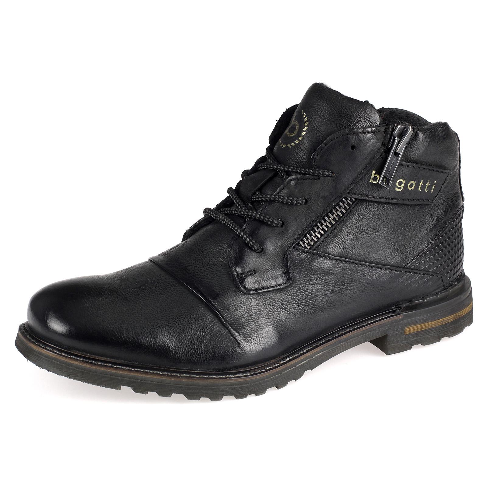 Bugatti Herren Schuhe Boots Stiefel Stiefeletten Leder schwarz