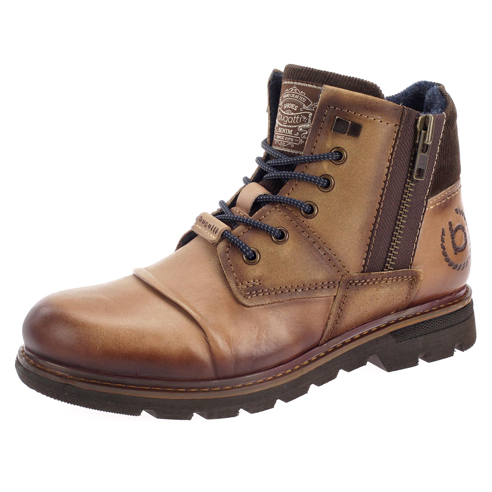 Bugatti Herren Schuhe Boots Stiefel Stiefeletten Leder braun