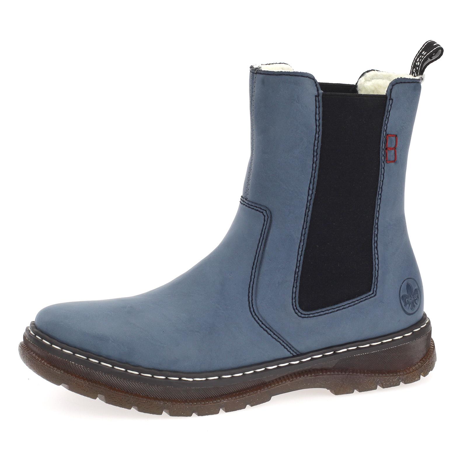 Damen Chelsea Boots Rieker Stiefeletten Winterboots Stiefel Gefüttert Blau
