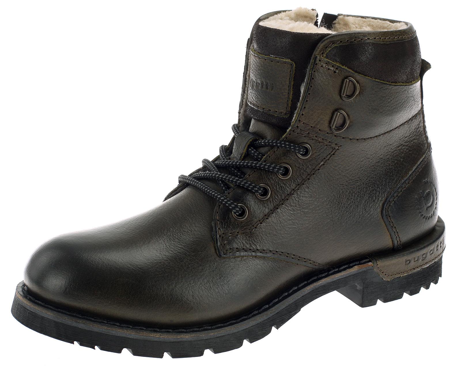 Bugatti Herren Leder Stiefel Boots Grün 61156