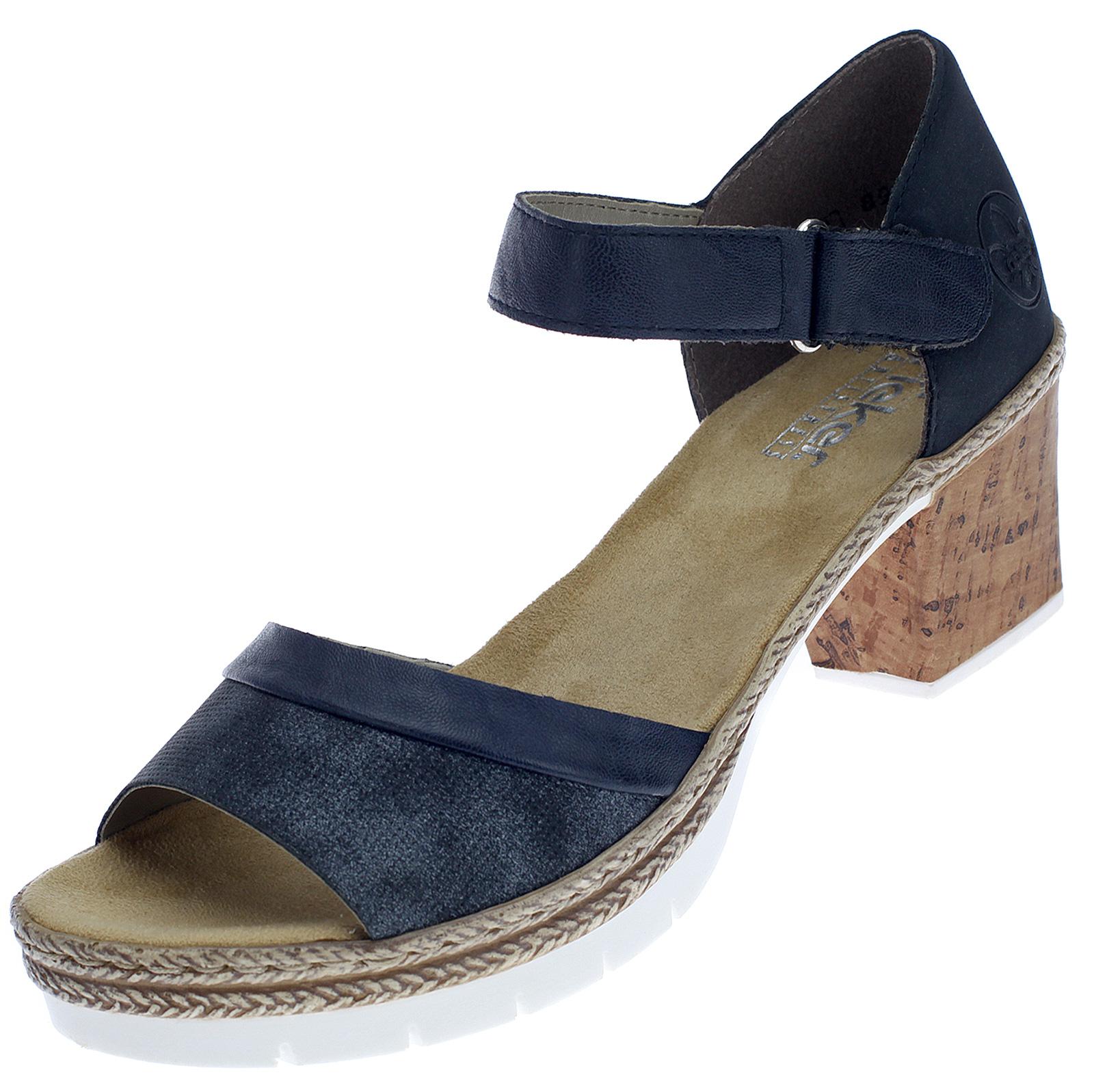 Rieker Damen Sandalen Sandaletten Damenschuhe Riemchen Sommerschuhe Blau V29A6-14