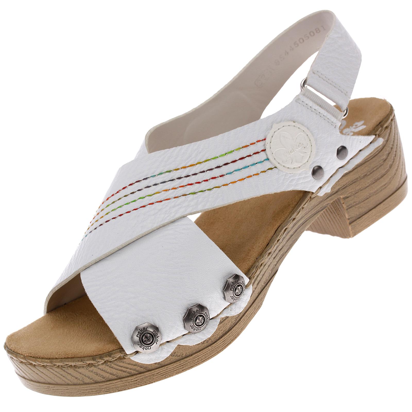 Rieker Damen Sandalen Sandaletten Damenschuhe Sommerschuhe Slipper Weiß