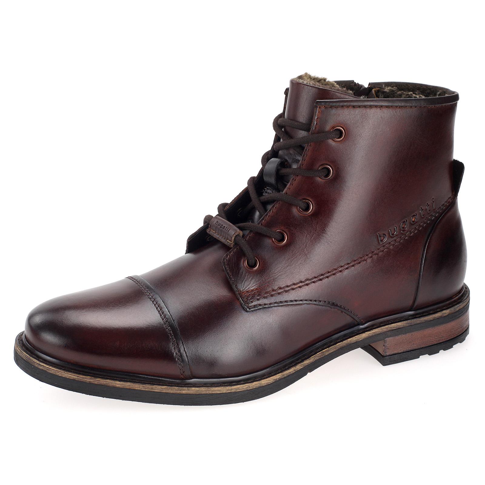 Bugatti Herren Stiefel Leder Boots Gefüttert Business Schuhe Elegant Dk.Braun 331-78252-1000-6100