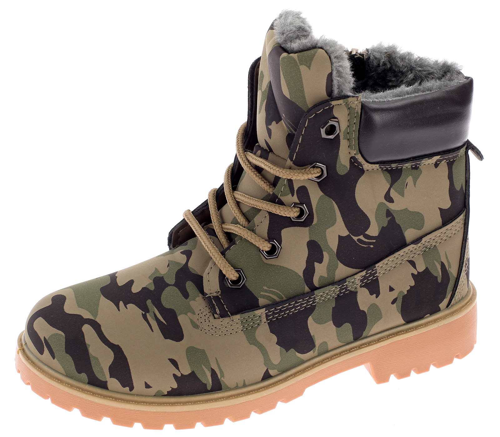 Kinder Boots Stiefel Stiefeletten Winterboots Gefütterte Army Kinderschuhe Khaki 3138-3