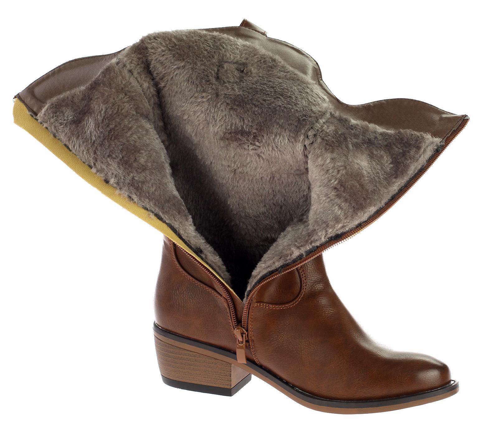 Damen Stiefel Cowboystiefel Boots Gefüttert