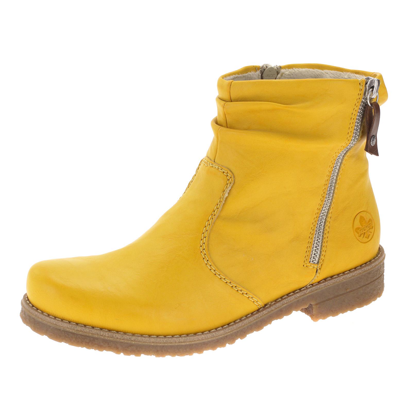 Rieker Damenschuhe Stiefeletten Boots Stiefel Warmfutter Booty Gelb 73561-69