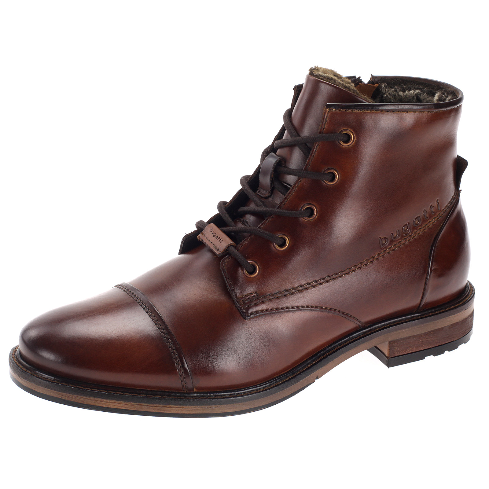 Bugatti Herren Stiefel Leder Boots Gefüttert Business Schuhe Elegant Braun 331-78252-1000-6300