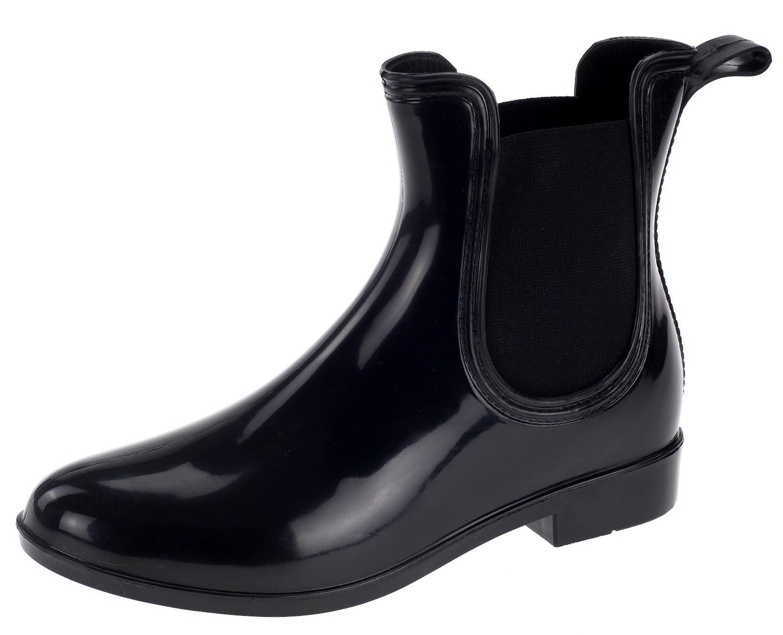 Damen Lack Stiefelette Gummistiefel Chelsea Jelly Boot Schuhe Regenstiefel HM83