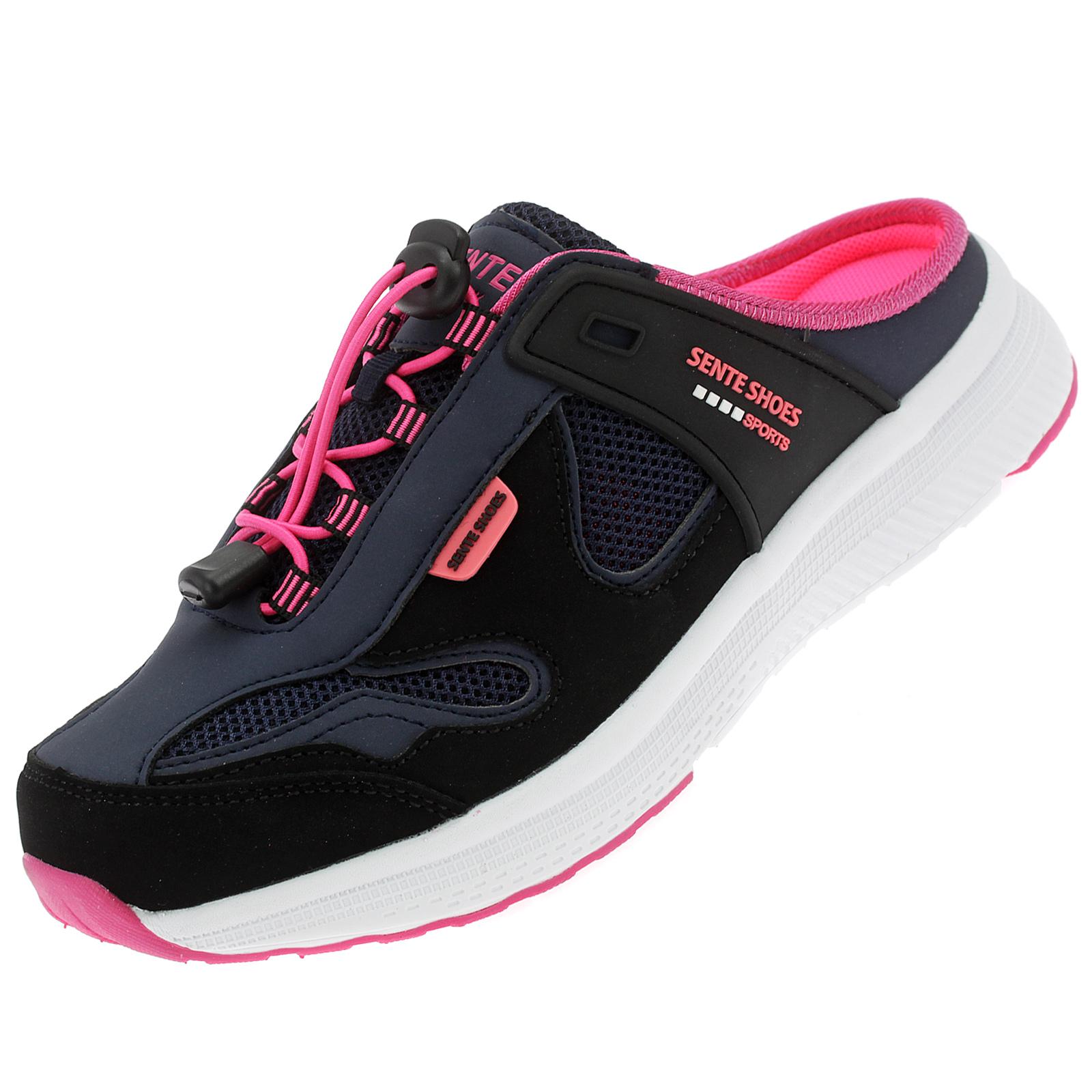 Damen Pantoletten Sabots Sneaker Sandalette Slipper Freizeitschuhe AB2101 Navy Pink