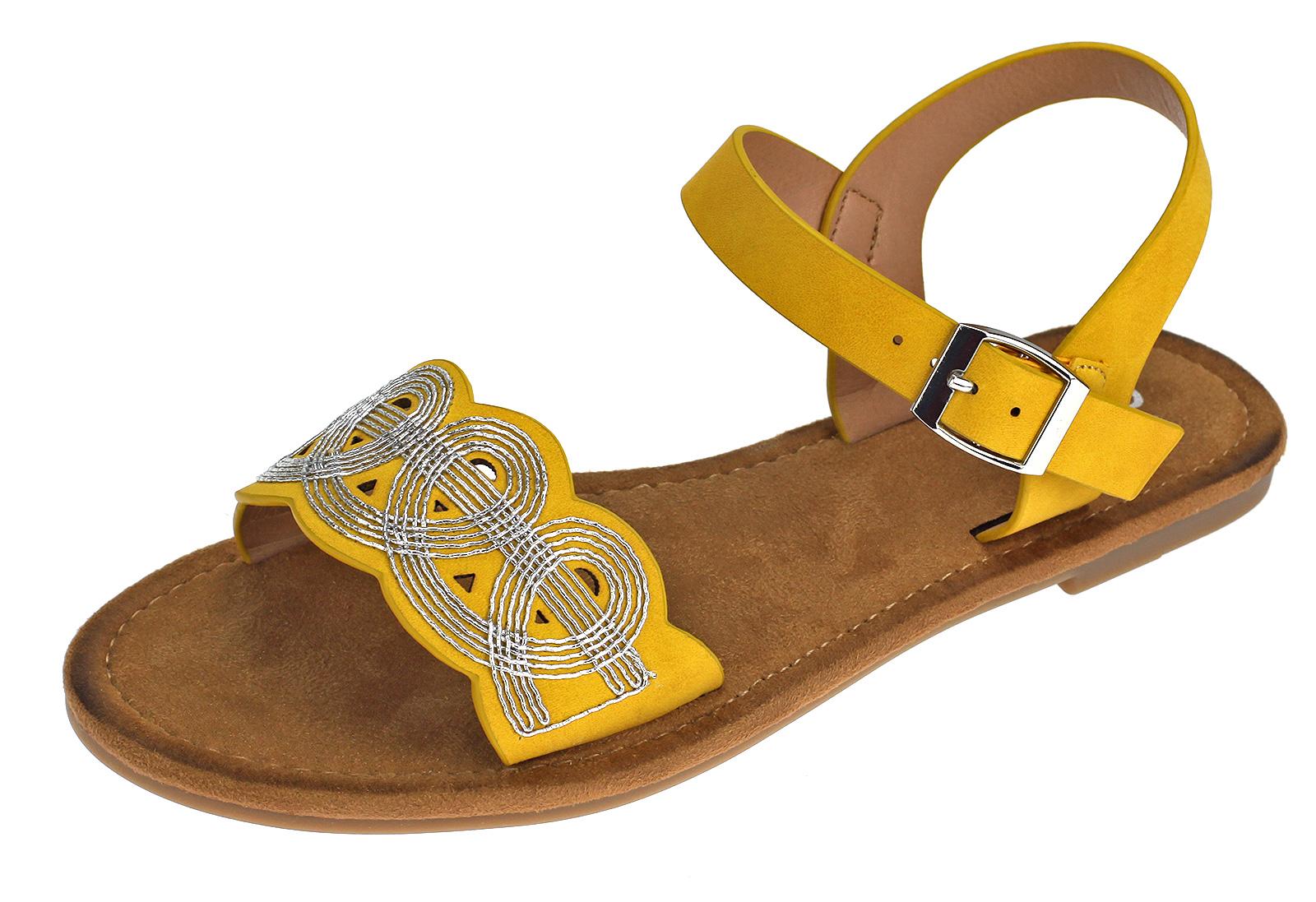 Rieker Damen Sandalen Sandaletten Riemchen Flach Sommerschuhe Gelb Schwarz V7556 gelb